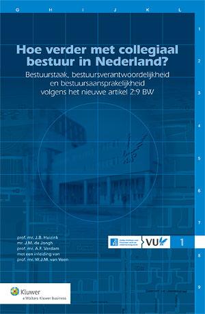 Hoe verder met collegiaal bestuur in Nederland? Eerste deel uit de nieuwe ZIFO-reeks. De in deze uitgave opgenomen beschouwingen vormen de neerslag van de debatten die op 25 november 2010 op de VU hebben plaatsgevonden over de wijziging van art. 2:9 BW, zoals wordt voorgesteld in het wetvoorstel bestuur en toezicht (kamerstukken I, 2009-2010, 31 763).