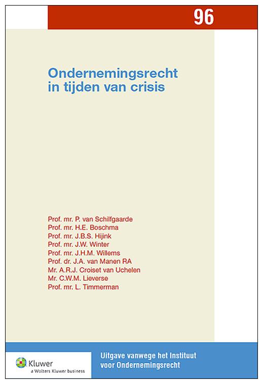 Ondernemingsrecht in tijden van crisis De crisis heeft grote invloed op de omstandigheden waarin ondernemingen opereren en is niet zonder gevolgen gebleven voor de continuïteit van veel ondernemingen. Vraagstukken op het terrein van governance, verantwoording en aansprakelijkheid zijn daarom actueler dan ooit. Deze bundel bevat de uitgewerkte voordrachten en een verslag van de gevoerde discussie tijdens het congres van het Instituut voor Ondernemingsrecht op 9 en 10 november 2012.