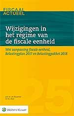 Wijzigingen in het regime van de fiscale eenheid U vindt in deze uitgave een integrale behandeling van de recente wijzigingen in de regeling van de fiscale eenheid in de vennootschapsbelasting. Het gaat om wijzigingen vanaf eind 2016 naar aanleiding van de Vlinderrechtspraak in 2014, de Wet aanpassing fiscale eenheid. Ook de zeer recente voorstellen in het Belastingpakket 2018 en de motie Van Vliet komen aan bod.