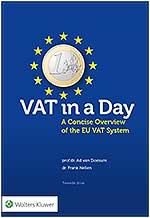VAT in a Day Deze Engelstalige uitgave bevat een toegankelijke beschrijving en toelichting van het Europese btw-stelsel. Het geeft een overzicht van belangrijke bepalingen uit de BTW-Richtlijn en de rechtspraak daarover. Daarmee is het een zeer geschikte introductie in het btw-domein, wanneer u (internationaal) student bent, taxmanager, tax expert of controller en u zich graag wilt verdiepen in het Europese VAT-stelsel.