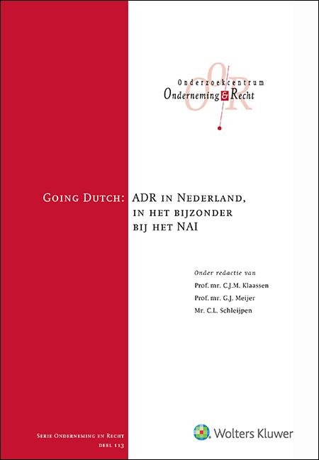 Going Dutch Deze bundel biedt de lezer een totaaloverzicht van wat Nederland en in het bijzonder het Nederlands Arbitrage Instituut (NAI) op dit moment te bieden heeft op het gebied van alternatieve geschilbeslechting (ADR). Hierbij signaleren de auteurs zowel kansen als knelpunten voor het NAI en diepen bijdragen van uiteenlopende professionals binnen het vakgebied de ADR-procedure verder uit.