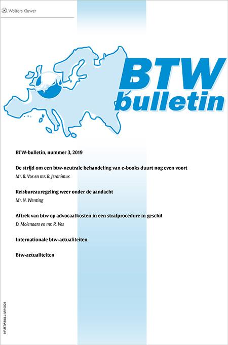 """BTW Bulletin Alle ondernemers hebben te maken met de BTW, de belasting op de particuliere bestedingen die zij voor de overheid innen. Hoewel het hierbij gaat om een belasting op de particuliere consumptie van goederen en diensten, zijn de bedrijven...<br /><br /> <p><em>Vrijblijvend proberen? Vraag eenvoudig een gratis<a href=""""/shop/navigator-tax/proefabonnement"""" target=""""_blank"""">proefabonnement</a>aan op de online editie. Het proefabonnement stopt automatisch na een maand.</em></p>"""