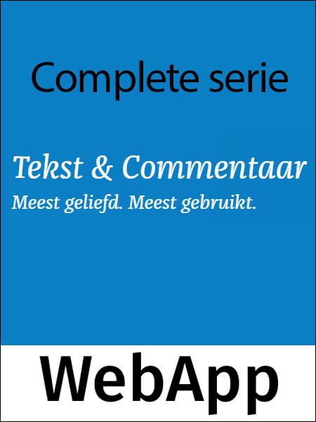 Tekst & Commentaar Complete serie <p>De complete Tekst &amp; Commentaar serie is verkrijgbaar als handige WebApp. U profiteert hiermee van diverse online voordelen, zoals continue updates, een groter zoekgemak en de zekerheid dat u de wetteksten altijd en overal kunt raadplegen. Dit totaalabonnement omvat 29 delen.</p>