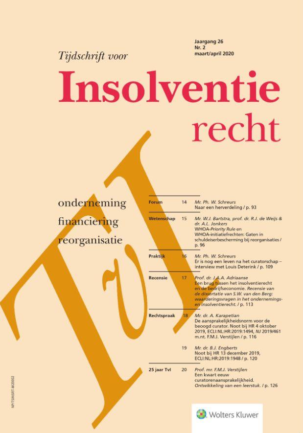 Tijdschrift voor Insolventierecht <span>Het tijdschrift voor Insolventierecht brengt praktisch-wetenschappelijke informatie bijeen vanuit diverse deelterreinen van het insolventierecht. Tevens is er aandacht voor thematische samenhangen en voor grensoverschrijdende insolventiekwesties.</span>