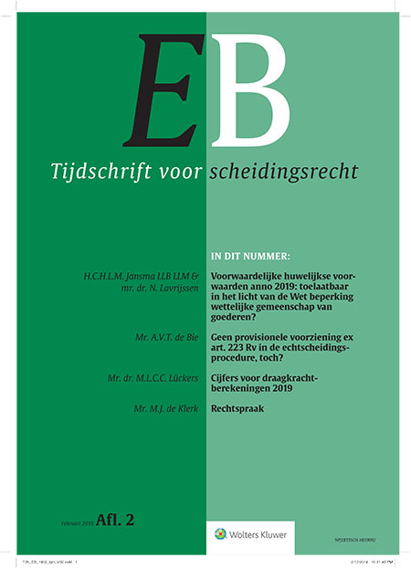 EB Tijdschrift voor scheidingsrecht <span>Het tijdschrift behandelt met korte en praktijkgerichte artikelen alle juridische en fiscale aspecten van (echt)scheiding. </span>