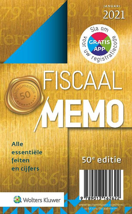 Fiscaal Memo <p>De wet- en regelgeving op fiscaal en financieel gebied staat nooit stil. Met dit memo bent u verzekerd van de belangrijkste actuele wetswijzigingen, beleidsbesluiten, essentiële nieuwe jurisprudentie en natuurlijk alle nieuwe normbedragen en kerncijfers per 1 januari 2021. Tevens vindt u een apart hoofdstuk over corona opgenomen.</p>