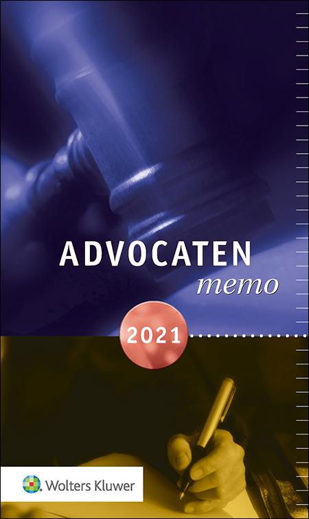 Advocatenmemo Dit handzame en praktische naslagwerk is ideaal om mee te nemen naar een bespreking of zitting. De omvangrijke hoeveelheid regelgeving vanuit de overheid vindt u makkelijk terug. De uitgave bundelt alle gegevens en informatie die relevant zijn voor het jaar 2021.