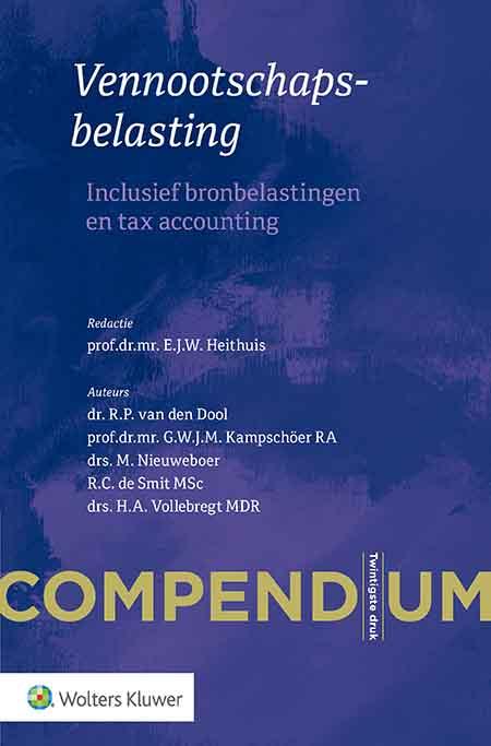 Compendium vennootschapsbelasting Compendium Vennootschapsbelasting verheldert alle regelgeving op gestructureerde wijze. Onder andere (bedrijfs)fiscalisten, accountants, bedrijfsadviseurs, bedrijfsjuristen en notarissen profiteren van deze uitgave.