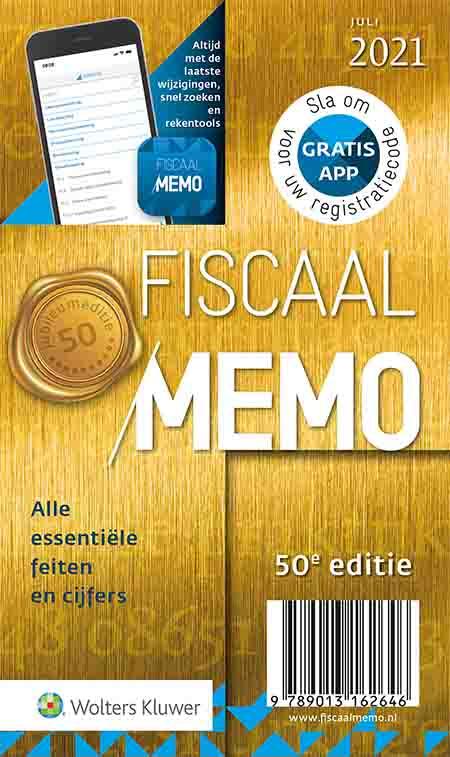 Fiscaal Memo <p>Met Fiscaal Memo grijp je al 50 jaar nooit mis naar de laatste feiten en cijfers op het terrein van belastingen, premies, uitkeringen en financiën. Deze editie is bijgewerkt met alle essentiële nieuwe wetgeving, jurisprudentie, normbedragen en kerncijfers per 1 juli 2021. Daarnaast zijn de coronasteunmaatregelen NOW, TVL en Tozo opgenomen.</p>
