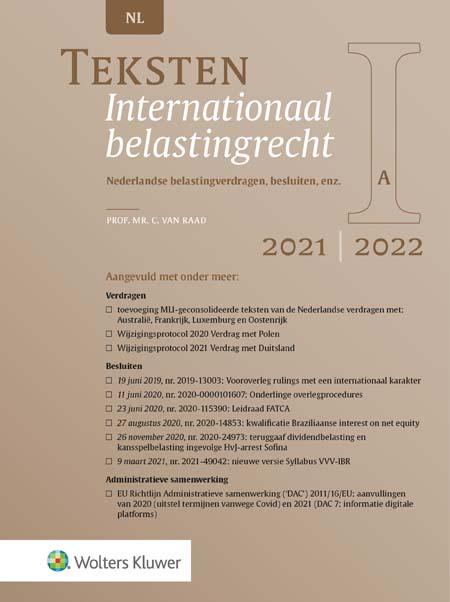 Teksten Internationaal belastingrecht <p>Stel: je werkt in het buitenland, maar woont in Nederland. Met welke inkomensheffingen moet je dan rekening houden? Deze tekstbundel bevat de teksten en uittreksels van de actuele belastingverdragen en regels die bij dergelijke kwesties onmisbaar zijn. De vernieuwde 2021/2022-druk is bijgewerkt met diverse actuele verdragen, besluiten en richtlijnen.</p>