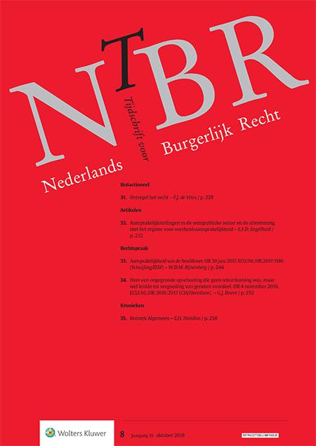 Nederlands Tijdschrift voor Burgerlijk Recht (NTBR) <span>Het Nederlands Tijdschrift voor Burgerlijk Recht (NTBR) volgt de ontwikkelingen rond het Burgerlijk Wetboek nauwlettend. Het gehele terrein van het burgerlijk recht wordt bestreken, waarbij het accent vooral op het vermogensrecht ligt.</span>