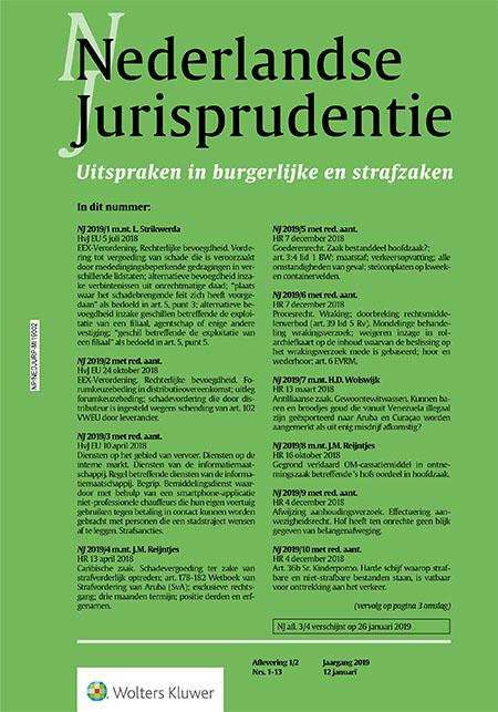 Nederlandse Jurisprudentie <span>De Nederlandse Jurisprudentie (NJ) publiceert wekelijks uitspraken van de Hoge Raad en EHRM, HvJ EG en Benelux-Gerechtshof en een beperkt aantal uitspraken van gerechtshoven en rechtbanken.</span>