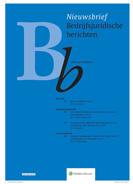 """Bedrijfsjuridische Berichten Bedrijfsjuridische berichten (Bb) is een tweewekelijkse nieuwsbrief. Bb verstrekt bondig en toegankelijk door deskundigen geselecteerde rechtsinformatie.<br /><br />De online versie van deze uitgave maakt deel uit van de <a href=""""/navigator/collecties"""">Collecties</a>."""
