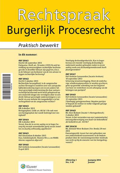 Rechtspraak Burgerlijk Procesrecht <p>Rechtspraak Burgerlijk Procesrecht (RBP) publiceert elfmaal per jaar online een selectie van de belangrijkste uitspraken op het terrein van het burgerlijk procesrecht.</p>