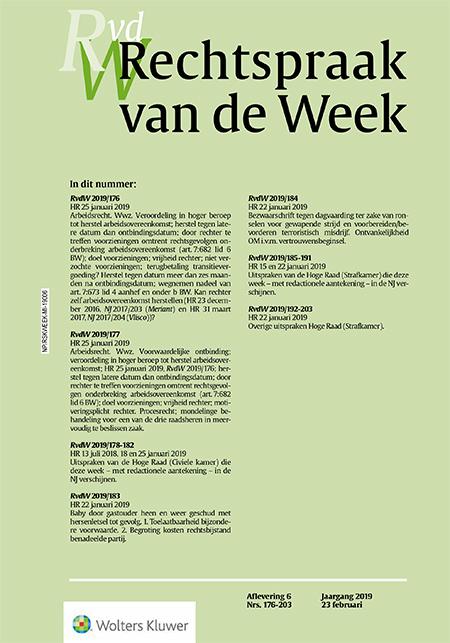 Rechtspraak van de Week <span>Rechtspraak van de Week (RvdW) is een complementaire voorpublicatie van de Nederlandse Jurisprudentie (NJ).</span>
