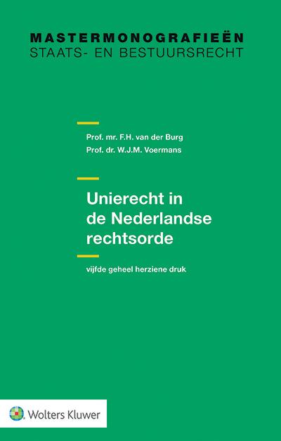 Unierecht in de Nederlandse rechtsorde Een verkenning van de verschillende dimensies van de wisselwerking tussen het Unierecht en het Nederlandse recht. Welke betekenis heeft het EU-recht binnen en voor de Nederlandse rechtsorde? Vanuit de positie van de burger, de wetgever, het bestuur en de rechter onderzoekt het boek welke vragen het Unierecht voor het Nederlandse recht oproepen.