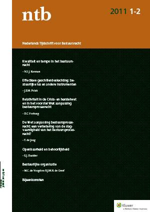 Nederlands Tijdschrift voor Bestuursrecht <span>Het Nederlands Tijdschrift voor Bestuursrecht (NTB) belicht de belangrijkste ontwikkelingen in het algemeen deel van het bestuursrecht (inclusief bestuursprocesrecht). Beschikbaar als tijdschrift en online uitgave.</span>